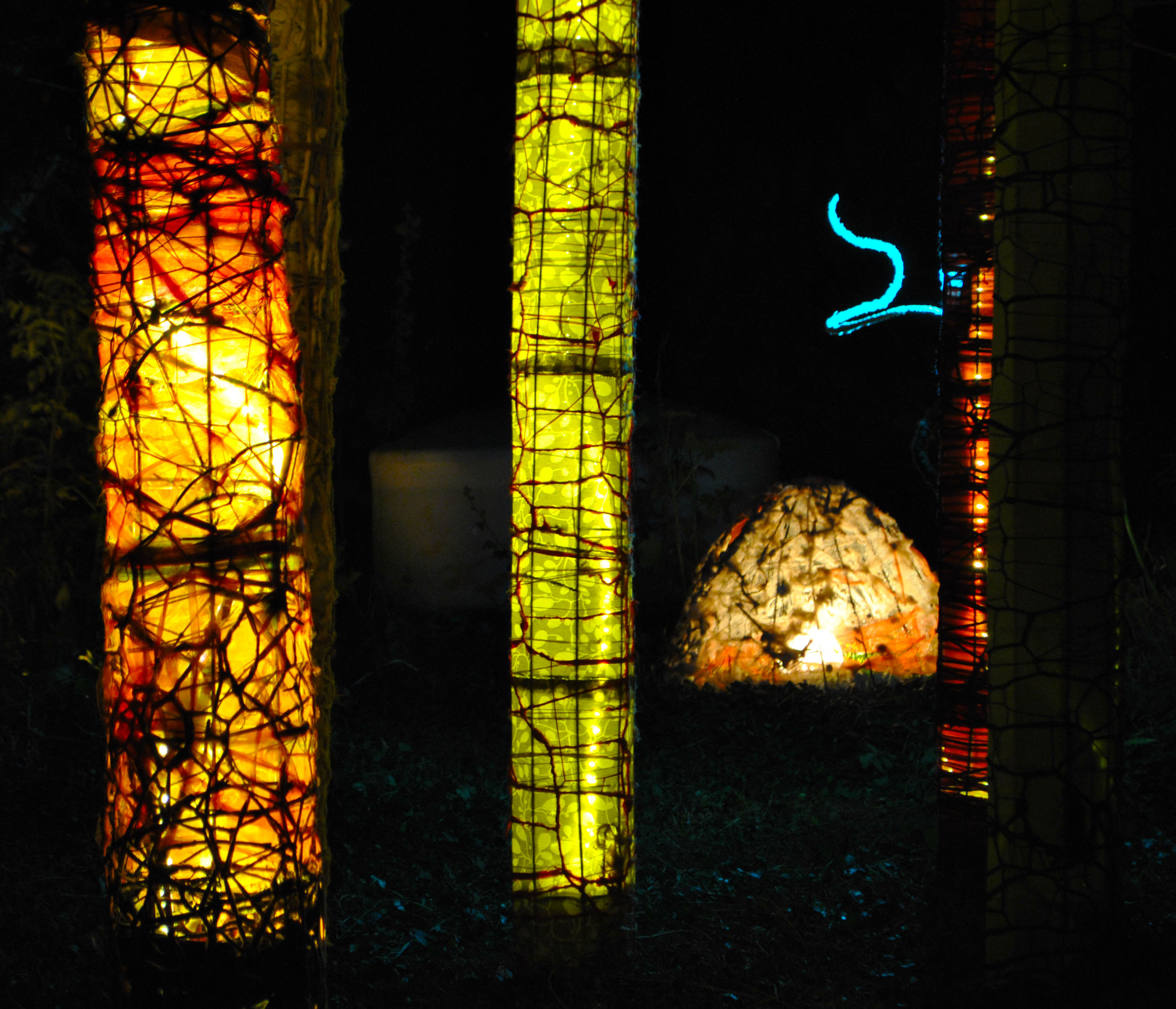 installation; Forest of Columns, Electric Eclectics Festival, Meaford, ON, 2013