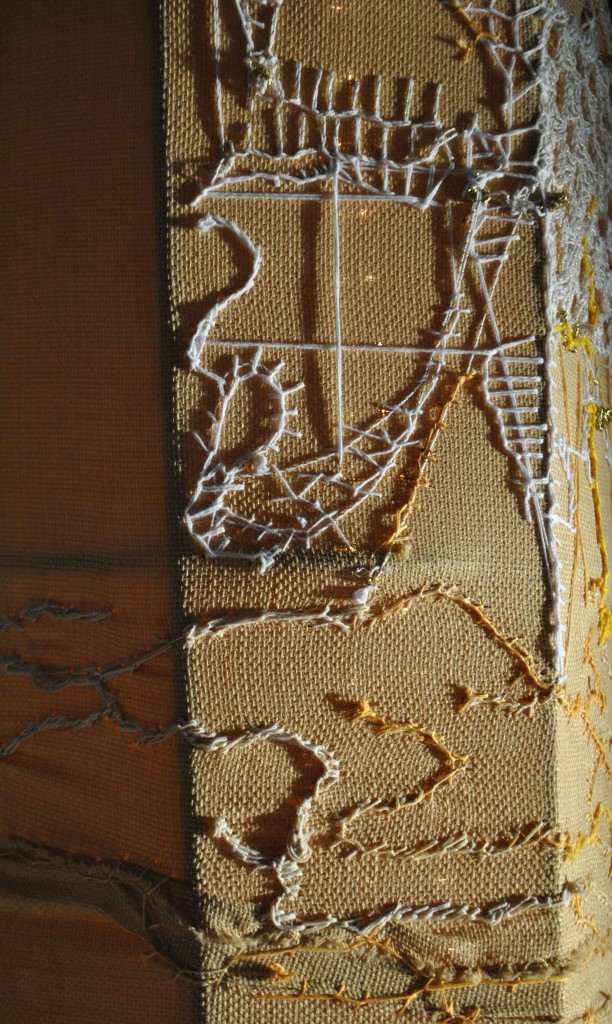yellow embroidered column